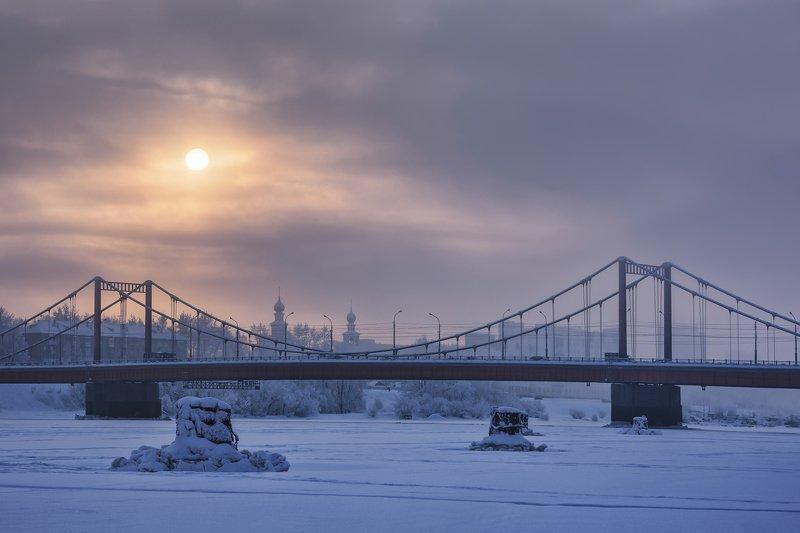 зима, день, полярный, река, мост, небо, солнце, архангельск Полярный день, минус 30photo preview