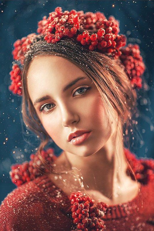 рябина, девушка, красный, нежность, осень, зима, снег, рябины, портрет, милая  Ноябрьphoto preview