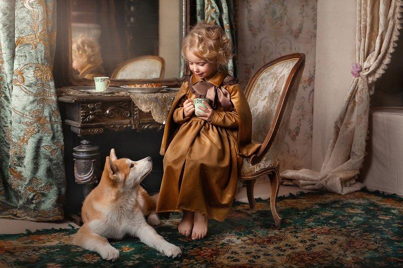 девочка, собака, винтаж Завтрак с лучшим другомphoto preview