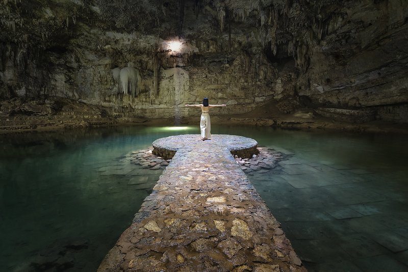 bridge, river, blue, water, cenote, mexico, people, cave Beauty in Cenotephoto preview