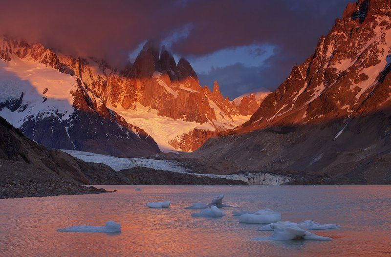 argentina, cerro torre, south patagonia, аргентина, патагония, серро торе Холодное пламя рассветаphoto preview