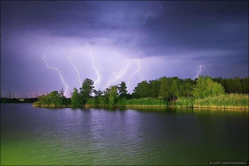 пейзаж, молния, ночь, река, Силы природыphoto preview