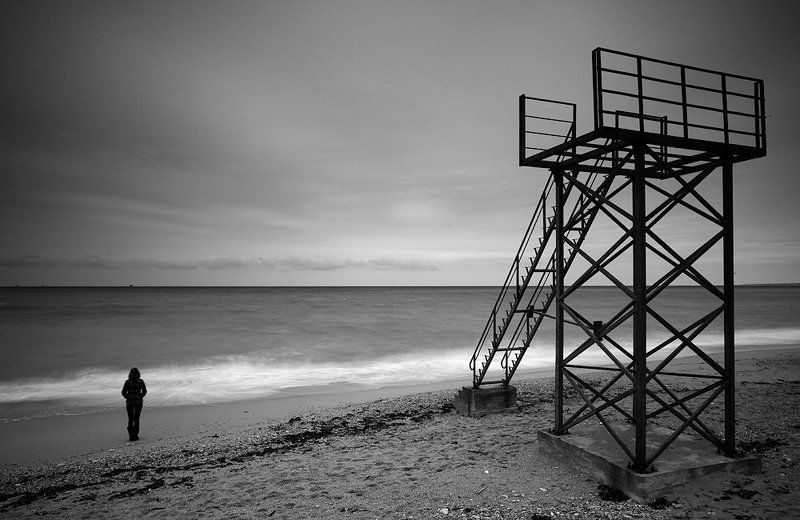 b&w, пейзаж, черное море ***photo preview