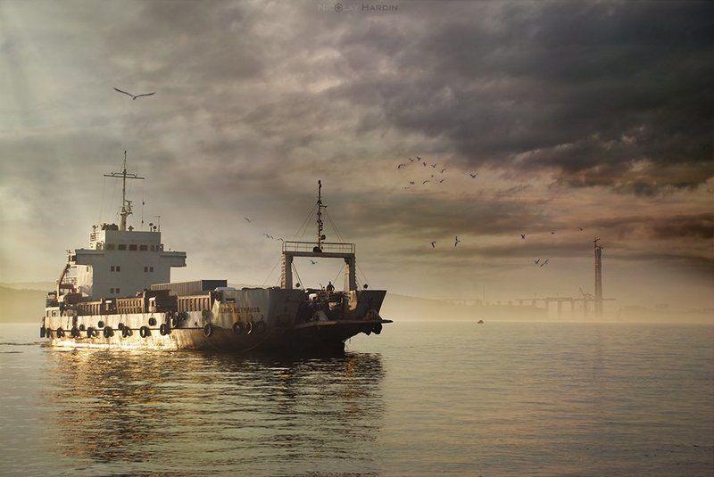 японское, , , море, , , корабль, закат Cargophoto preview