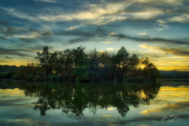 Autumn sunset over the lakephoto preview