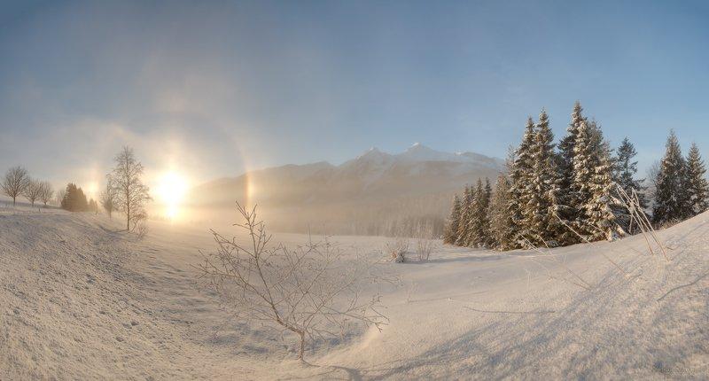 татры, белянские татры, высокие татры, словакия, закопане, горы, зима, гало, мороз, панорама, зимний пейзаж \