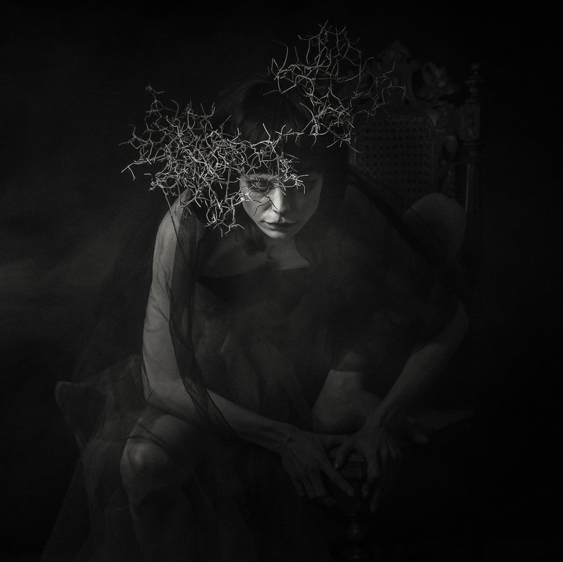 #conceptual, #dreams, #fictional, #surreal, #alexandrucrisan, #vampire, #artphotography, #bnw, #fantasy, #collectoredition, #darkness Awakened in the world of dreamsphoto preview