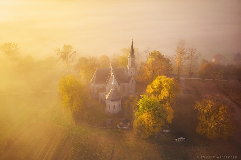 church, drone, dji, air, poland, polish, landscape, sunrise, sunset, colours, autumn, awesome, amazing, adventure, travel, beautiful, morning, fog, mist, mood Foggy prayerphoto preview