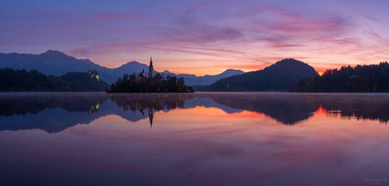блед, бледское озеро, словения, юлианские альпы, рассвет, панорама, отражение, горы, европа, фототуры, slovenia, julian alps, bled \