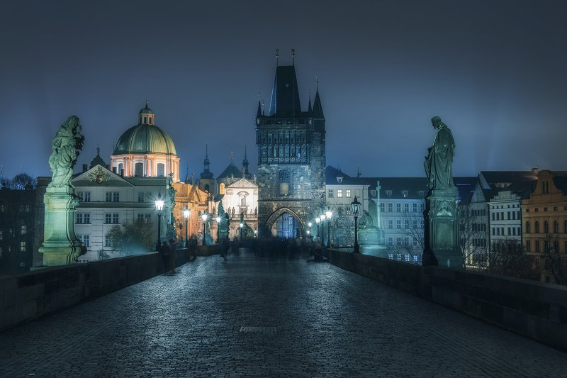 city, autumn, prague, fog, mist, moody, night, nightscape, czechia, czech republic, praha, town, city, old, architecture, lights, Ghosts of Praguephoto preview