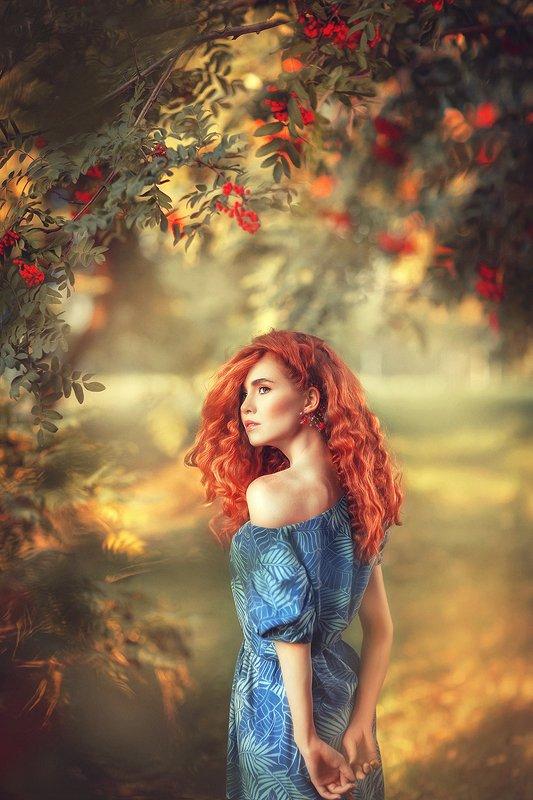 рябины, лес, осень, рыжая, рыжая девушка, красные волосы, рыжие волосы, синее платье, осенний лес, портрет, токая, нежная  Осеньphoto preview