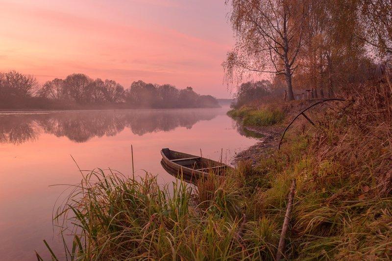пейзаж,природа,рассвет,лодка,туман,осень,октябрь,россия \