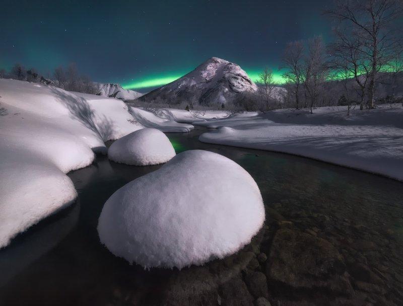 кольский, хибины Хибины в лунном свете.photo preview