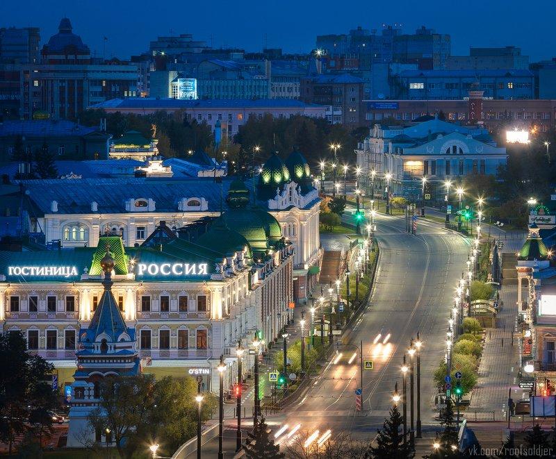 Омск, Россия, город, архитектура, крыша, пейзаж, ночь Любинскийphoto preview
