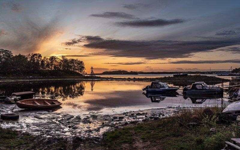 соловки, соловецкие острова, вечер, закат, белое море, вода, катер, ник васильев Соловецкий закат.photo preview