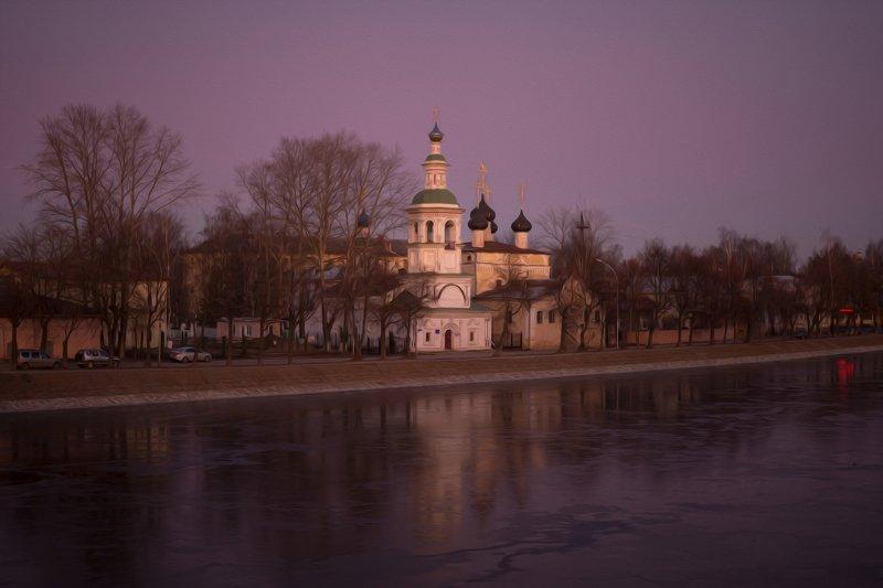 Прекрасная Вологда в морозном закате...photo preview