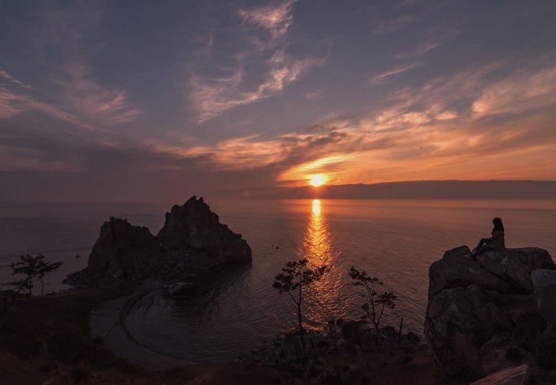 landscape, sunset, lake, baikal, girl, goldenhour, Наслаждение закатомphoto preview