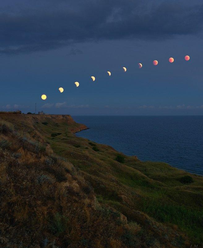 затмение, лето, луна, море, ночная съемка, ночной пейзаж, панорама, пейзаж, лунное затмение, красная луна, nightscape, night photography, lunar eclipse, eclipse, moon, sea Lunar eclipsephoto preview
