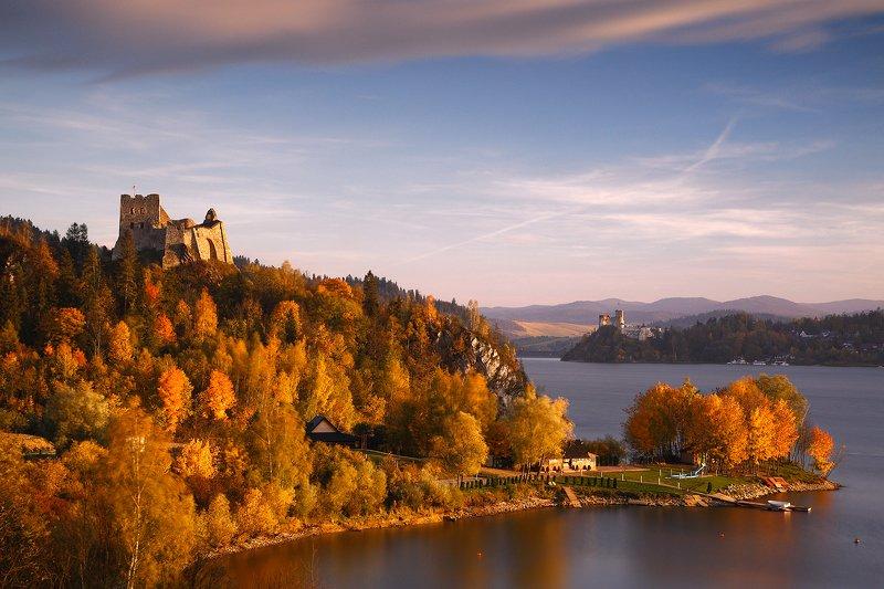 autumn, lake, water, yellow, tree, leaf, colour, sunset, castle, Czorsztynphoto preview