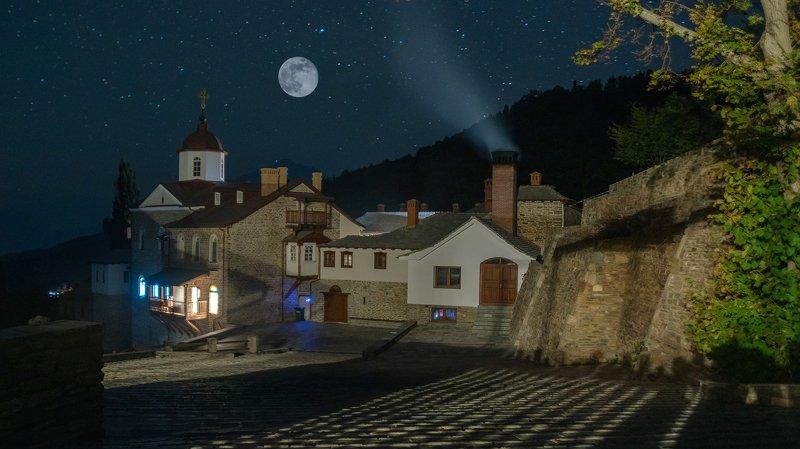 афон, пейзаж, храм, ночь, ксилургу Ксилургуphoto preview