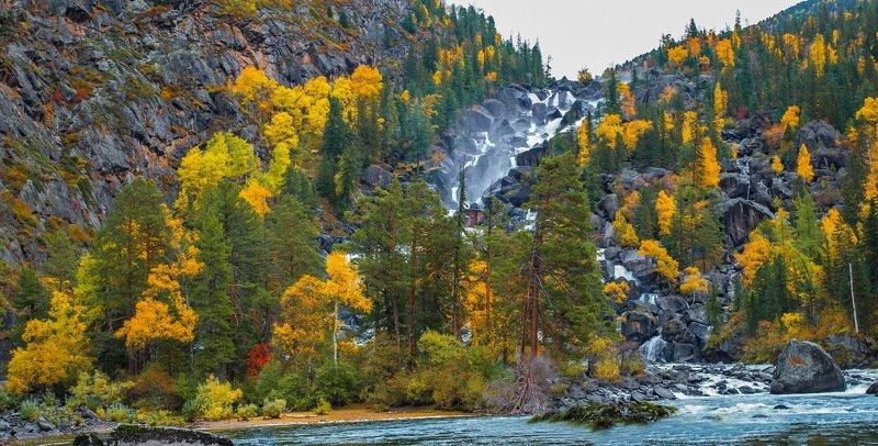 горы. осень. алтай. Водопад Учар.photo preview