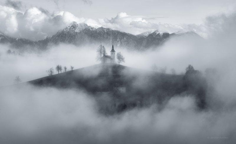 словения, осень, туман, пейзаж, утро Парящая Словения...photo preview