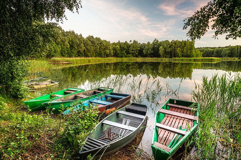 boat, lake, water, river, boats, landscape, nature, sky, summer, tree, blue, forest, fishing, pond, green, reflection, trees, pier, wood, clouds, travel, rowing, autumn, calm, vacation Old row boats at lakephoto preview