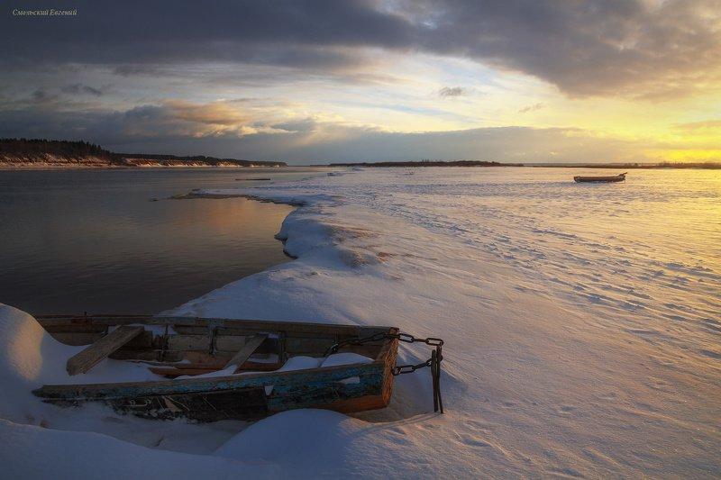 лодки, река, закат, зима, вечер, отражение На причале...photo preview