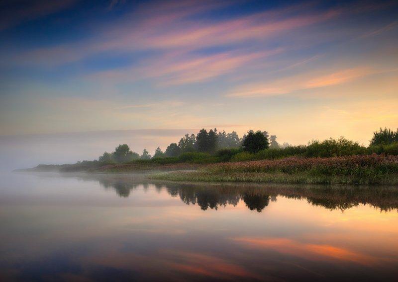 рассвет, река, туман, небо, Туман над рекойphoto preview