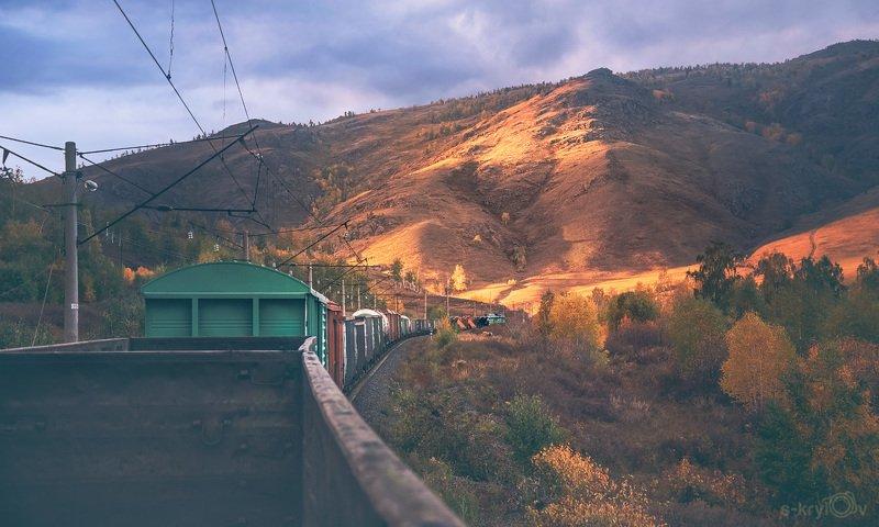 поезд, вагон, ржд, железная дорога, горы, закат photo preview