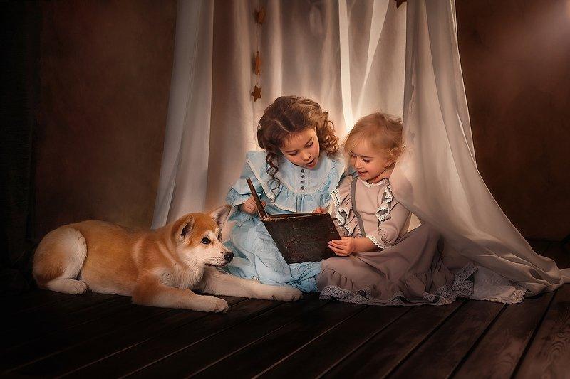 девочка, собака, винтаж Сказка на ночьphoto preview