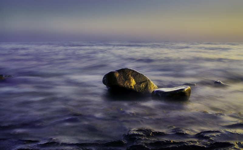 камни, закат, море, вода, небо, длинная выдержка, цвет, джанхот Одниphoto preview