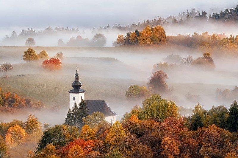 slovakia, morning, autumn, foggy, mood, landscape, sunrise, church Magic morningphoto preview