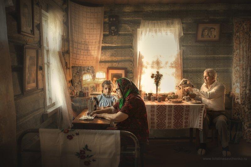 семья деревня в деревне у бабушки  дедушка  лиза с дедушкой photo preview