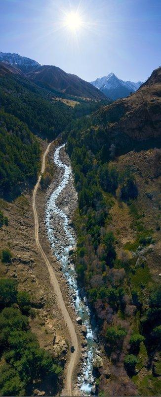 кабардино-балкария, гора техкинген, река чегем,северный кавказ, осень в горах, аэросъёмка Река Чегем, вид на гору Техкинген аэросъёмкаphoto preview
