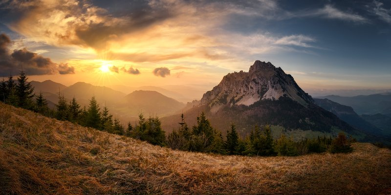 slovakia spring mountains littlefatra sunset landscape clouds panorama Symbol of Little Fatraphoto preview