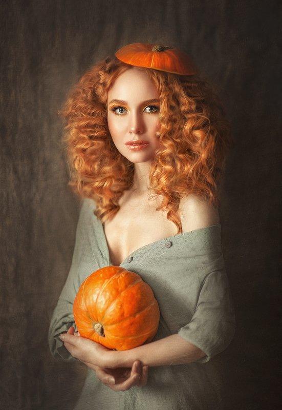 рыжая, рыжая девушка, оранжевый, тыква, тыквы, желтые волосы, рыжие волосы, тыква ,картина, художник Тыковкаphoto preview