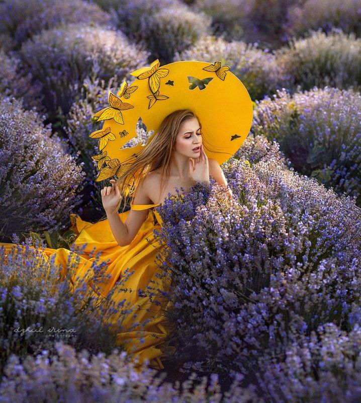 portreit people girl butterfly yellov lavender woman irinadzhul dzhulirina Butterflyphoto preview