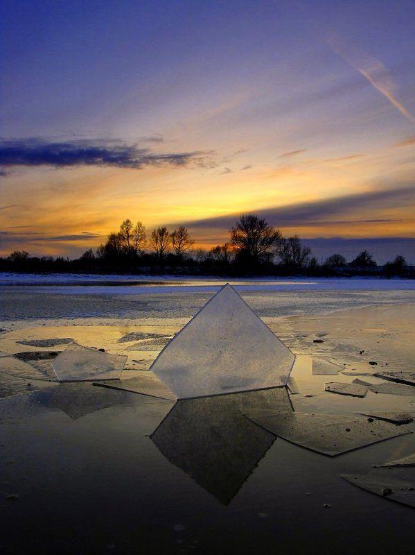 лёд, вечер, зима, облока Ледянное спокойствиеphoto preview