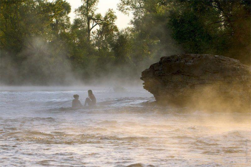 перекат, красивая меча, река, утро, туман, вода Утреннее купаниеphoto preview