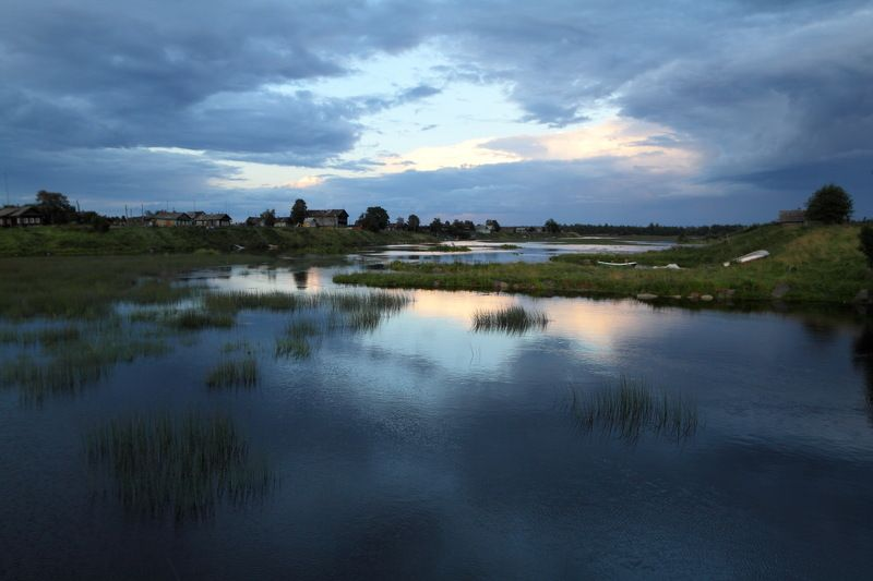 карелия, шуерецкое, 2012, река, деревня, поморы, синева, вечер, сыро, перед, дождем Синеваphoto preview