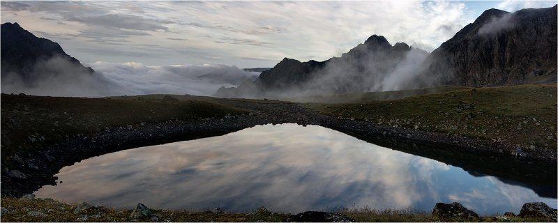 архыз, горы, озеро, вечер, облака, небо, отражение Отражениеphoto preview
