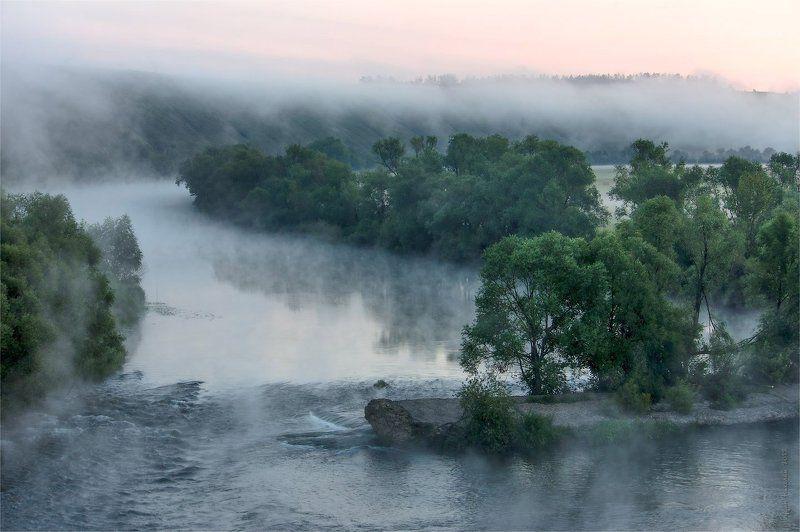 туман, река, перекат, утро Утро туманное, утро седоеphoto preview