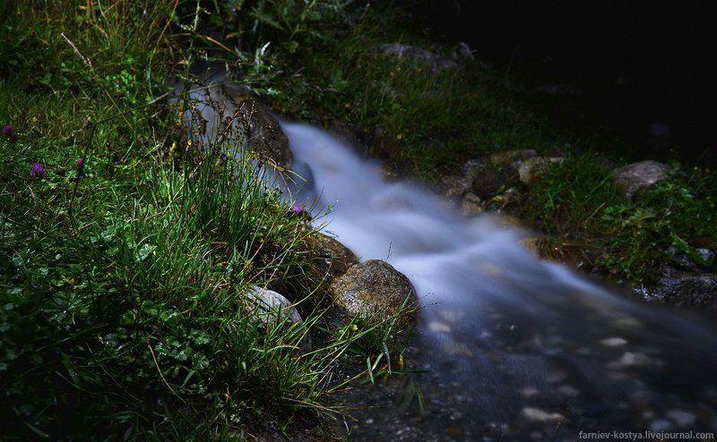 ручей, ночная съёмка, пейзаж, длинная выдержка, горный ручейphoto preview