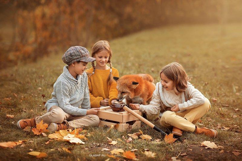 лиса, fox, art photo, art, портрет, осень, autumn, ребенок, девочка, girl, мальчик, boy, животное, радость, малыши, друзья, happy, любовь, love, 105mm, kid, children, beautiful, закат, people, eyes, face, red Кладоискатели со своим кладомphoto preview
