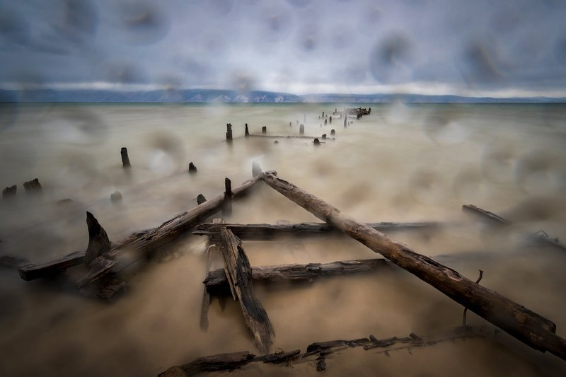 озеро, байкал, остров, ольхон, шторм, пристань, разрушенная Шторм на Байкалеphoto preview
