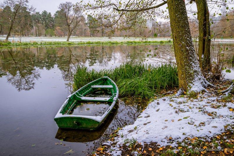 лодка, пейзаж, зима, boat, landscape, winter Первый снегphoto preview
