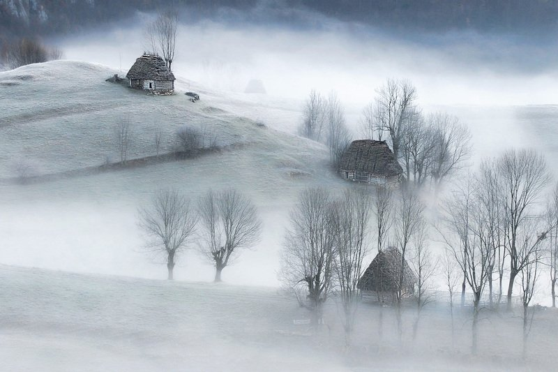 landscape, nature, village, frost, mountains, house, rural A Frozen Moment in Timephoto preview