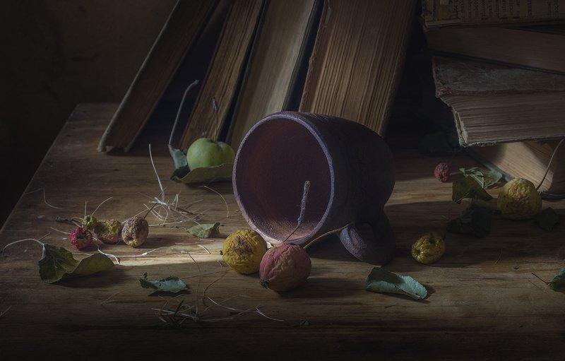 натюрморт,книги,яблоки,кружка photo preview
