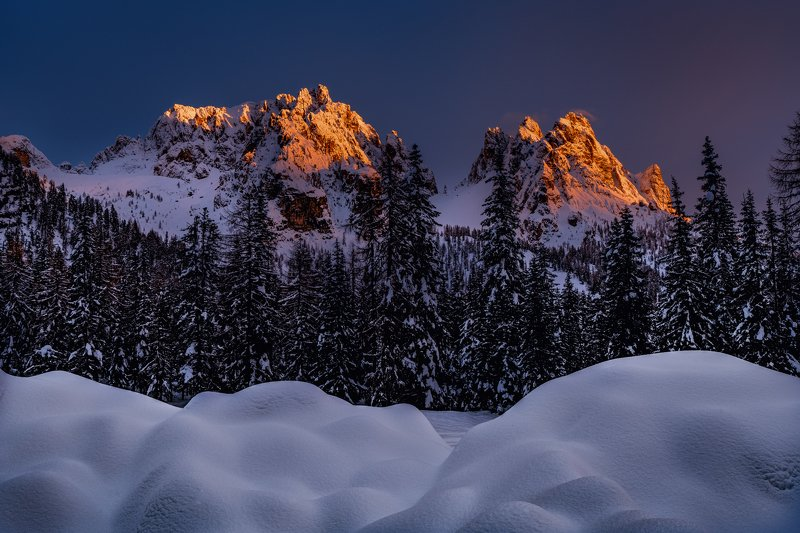 Sunset and alps peaksphoto preview